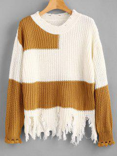 Drop Shoulder Color Block Distressed Sweater - White