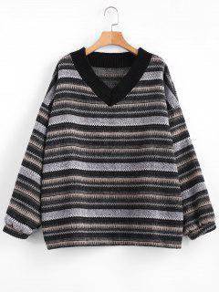 V Neck Drop Shoulder Loose Sweater - Multi-a