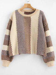 Crew Neck Oblique Striped Sweater - Multi