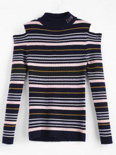 Suéter De Rayas De Colores De Hombro Frío - Multicolor-a