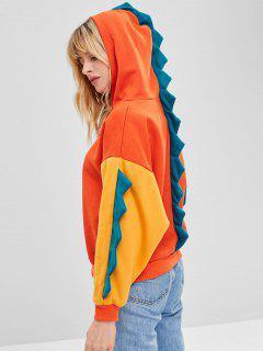 Drop Shoulder Farbblock Dinosaurier Hoodie - Leuchtend Orange