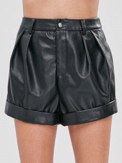 ZAFUL Faux Leather High Rise Shorts - Black Xl