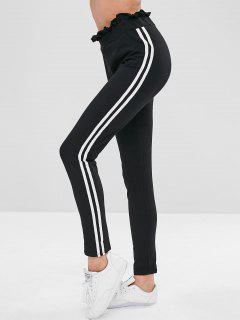Ruffled Stripes Skinny Pants - Black S