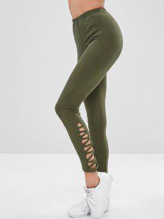 Skinny Cut Out Pants - Army Green L
