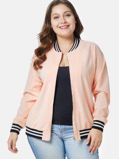 Striped Trim Plus Size Zip Jacket - Deep Peach 3x