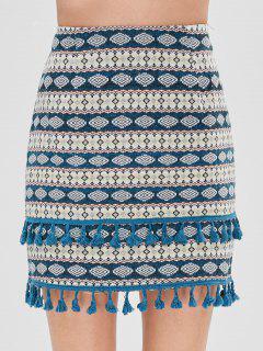 ZAFUL Ethnic Tassel High Waisted Skirt - Multi L