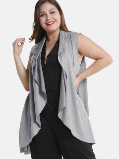 Draped Plus Size Tunic Waistcoat - Light Gray 4x