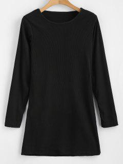Ribbed Long Sleeve Bodycon Dress - Black M