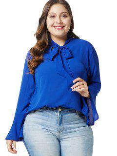 Blusa Con Cuello De Pajarita Y Tallas Grandes - Azul 2x