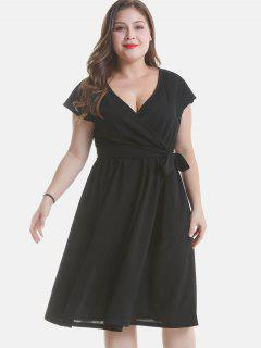 A Line Plus Size Plunge Dress With Belt - Black 2x