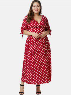 Plunge Plus Size Polka Dot Maxi Dress - Lava Red 4x
