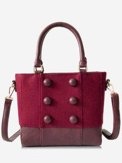 Circle Button Design Suede Crossbody Bag - Red Wine