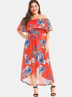 Plus Size Floral Slit Off Shoulder Dress - Red 4x