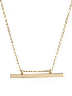 Alloy Bar Shape Pendant Necklace - Gold