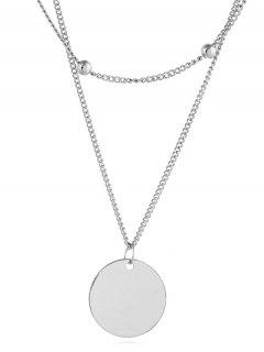 Simple Coin Shape Chain Necklace - Silver