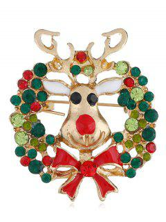 Reindeer Shape Bow Christmas Brooch - Gold