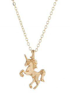 Unicorn Shape Animal Drop Necklace - Gold
