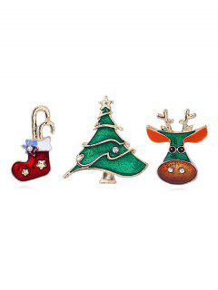 Christmas Tree Shape Brooch Set - Gold