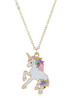 Alloy Unicorn Shape Drop Necklace - Gold