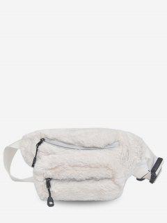 Double Zipper Design Fluffy Leather Crossbody Bag - White