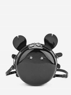 Cartoon Round Shape Mini Crossbody Bag - Black