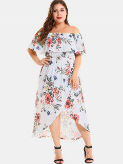 Plus Size Floral Slit Off Shoulder Dress - White 4x