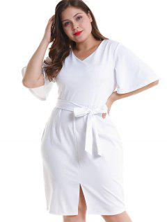 Plus Size Belted Slit Fitted Dress - White 1x