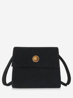 Mini Scrub PU Leather Crossbody Bag - Black