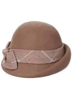Vintage Bowknot Lace Cloche Hat - Brown