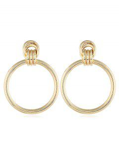 Cut Out Round Drop Earrings - Gold