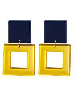 Square Design Acrylic Drop Earrings - Yellow