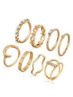Faux Crystal Decoration Alloy Rings - Gold