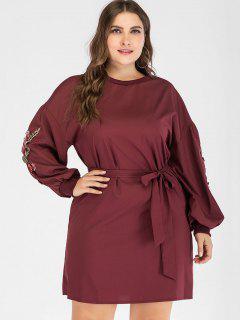 Robe Tunique Florale Applique De Grande Taille - Rouge Vineux 1x