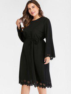 Vestido De Talla Grande Con Corte Láser - Negro 4x