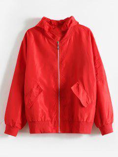 Striped Hooded Windbreaker Jacket - Red M