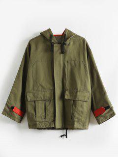 Drop Shoulder Hooded Pocket Jacket - Camouflage Green M