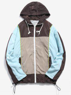 Color Block Hooded Windproof Jacket - Multi-a 2xl
