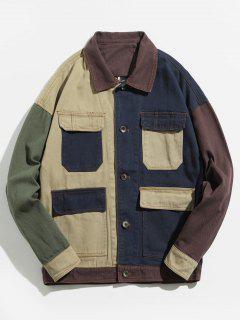 Color Block Flap Pockets Denim Jacket - Blue M