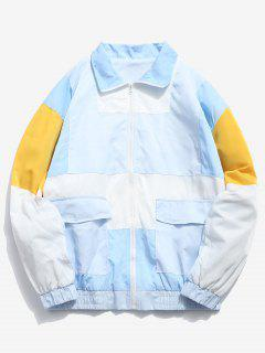 Embroidery Color Block Patchwork Jacket - Sea Blue L