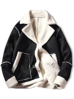 Color Block Fleece Casual Coat - Black L