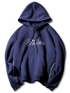 Side Zip Letter Print Pouch Pocket Drawstring Hoodie - Cadetblue M