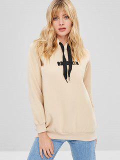 Embroidered Pullover Fleece Hoodie - Blanched Almond Xl