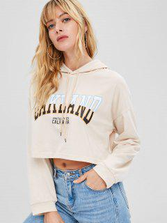 Graphic Oversized Pullover Cropped Hoodie - Warm White S