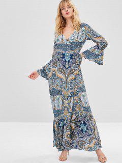 Vestido Estilo Boho Con Estampado Floral Y Estampado Floral De Paisley. - Multicolor