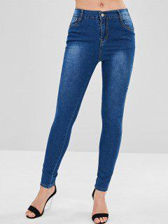 Skinny Floral Embroidered Jeans - Blue L