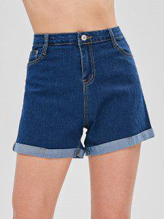 Turn Up Cuffs High Waisted Denim Shorts - Deep Blue M