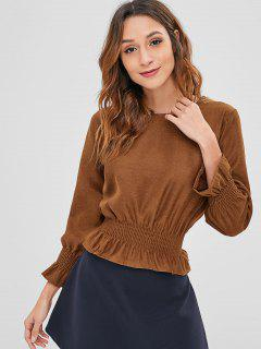 Pullover Bell Sleeve Ruffled Top - Brown
