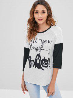 Pumpkin Ghost Graphic Halloween Tee - Light Gray L