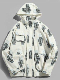 Hands Print Pockets Hidden Hat Jacket - White Xl