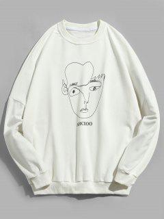 Face Contour Print Pullover Sweatshirt - White M